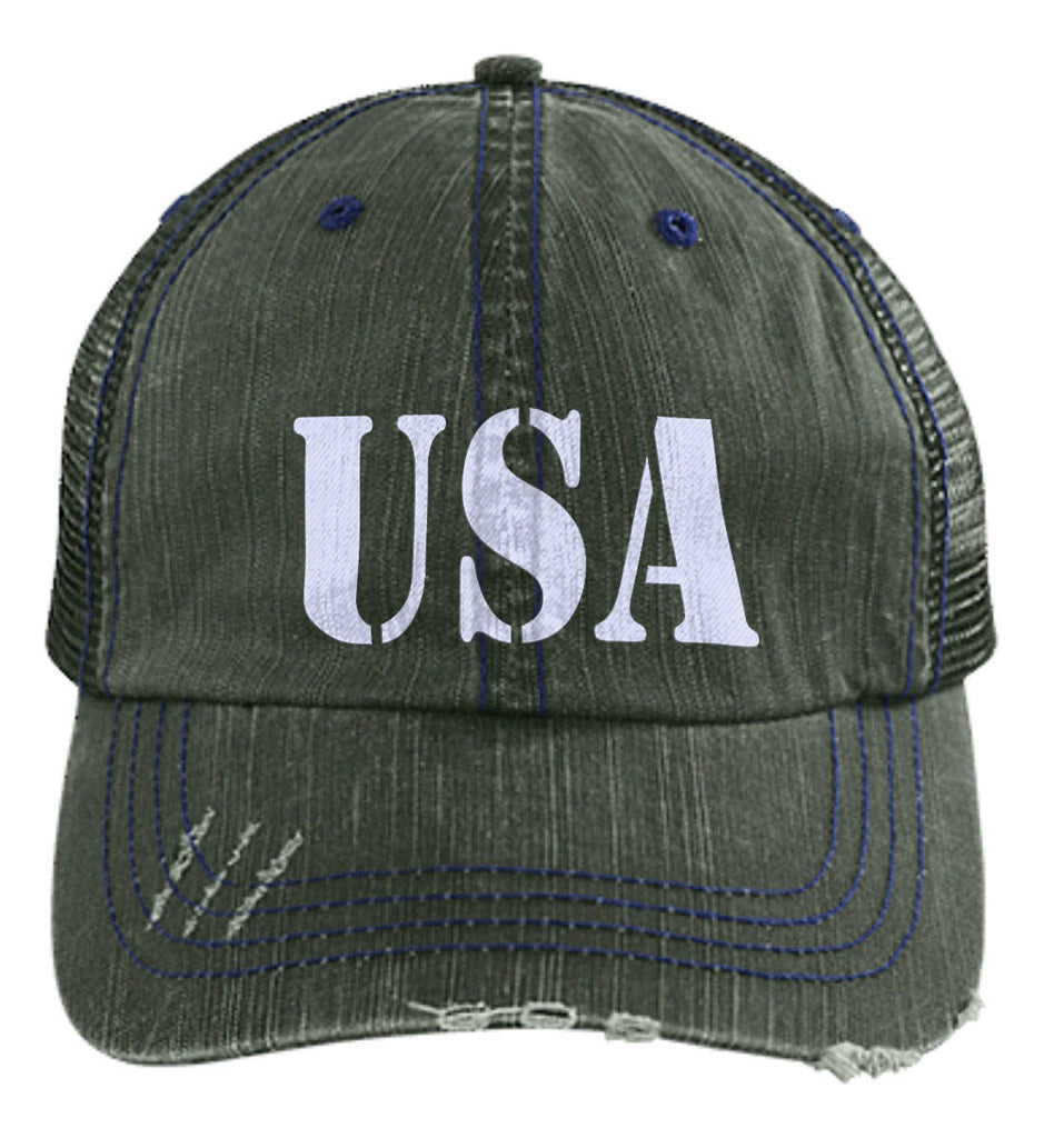 USA Patriot Hat Distressed Unstructured Trucker Cap. (Embroidered)-3