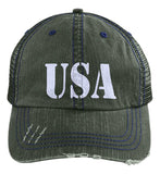 USA Patriot Hat Distressed Unstructured Trucker Cap. (Embroidered)