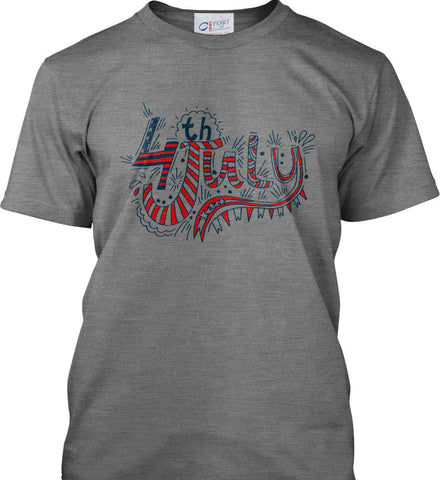 July 4th Red, White and Blue. Port & Co. Made in the USA T-Shirt.