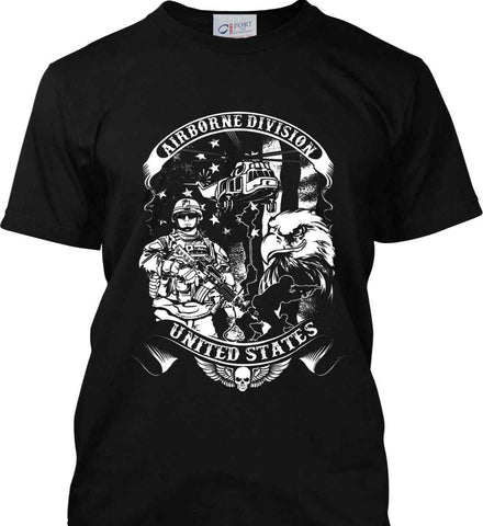 Airborne Division. United States. White Print. Port & Co. Made in the USA T-Shirt.