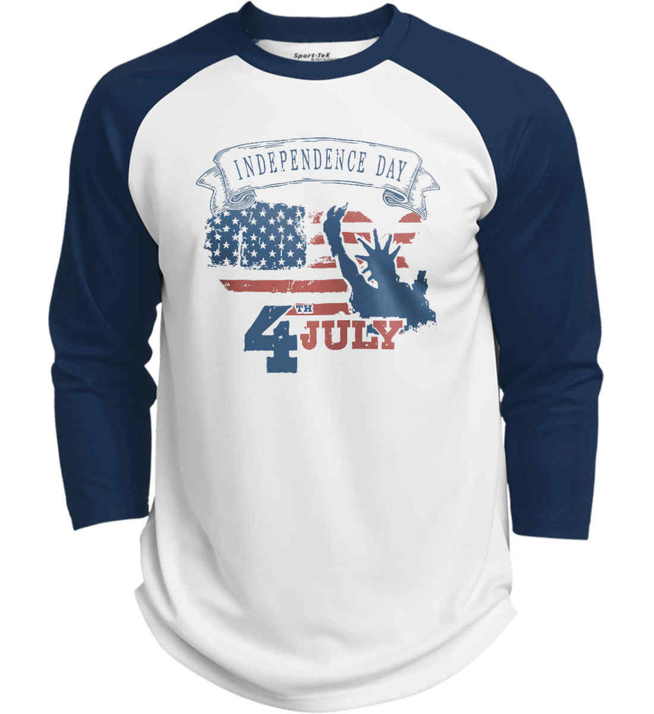 4th of July. Faded Grunge. Statue of Liberty. Sport-Tek Polyester Game Baseball Jersey.-6