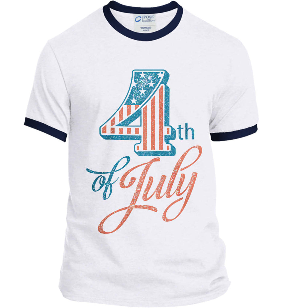 4th of July. Faded Grunge. Port and Company Ringer Tee.-4