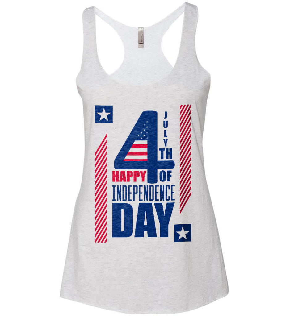 4th of July with Stars and Stripes. Women's: Next Level Ladies Ideal Racerback Tank.-2