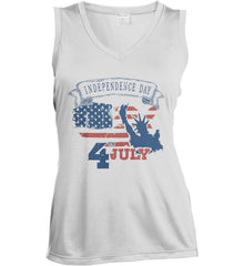 4th of July. Faded Grunge. Statue of Liberty. Women's: Sport-Tek Ladies' Sleeveless Moisture Absorbing V-Neck.