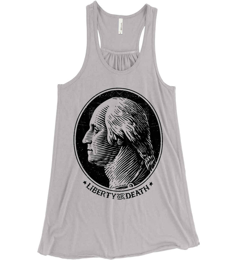 George Washington Liberty or Death. Black Print Women's: Bella + Canvas Flowy Racerback Tank.-10