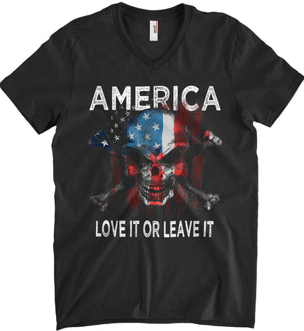 America. Love It or Leave It. Anvil Men's Printed V-Neck T-Shirt.