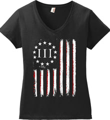Three Percent on American Flag. Women's: Anvil Ladies' V-Neck T-Shirt.