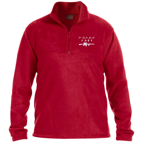 Molon Labe with Rifle. White. Harriton 1/4 Zip Fleece Pullover. (Embroidered)