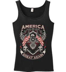 America. Great Again. Women's: Anvil Ladies' 100% Ringspun Cotton Tank Top.