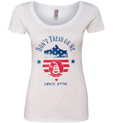 Don't Tread on Me. Snake on Shield. Red, White and Blue. Women's: Next Level Ladies' Triblend Scoop.