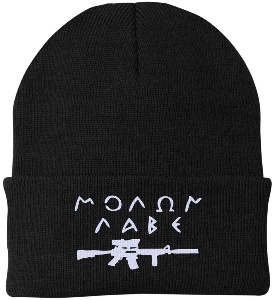 Molon Labe Rifle Hat. Port Authority Knit Cap. (Embroidered)-2