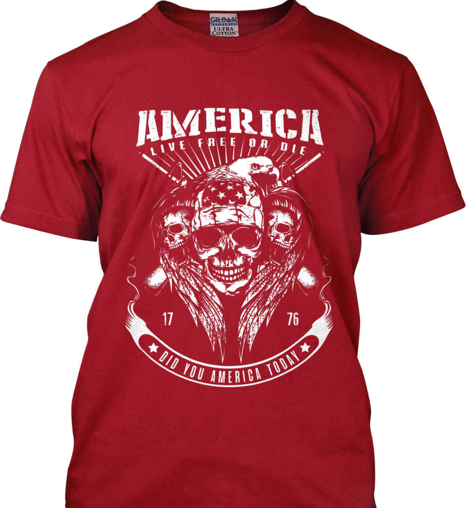 Did you America Today. 1776. Live Free or Die. Skull. White Print. Gildan Ultra Cotton T-Shirt.-3