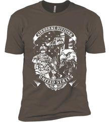 Airborne Division. United States. White Print. Next Level Premium Short Sleeve T-Shirt.