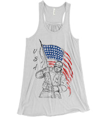 Soldier Flag Design. Black Print. Women's: Bella + Canvas Flowy Racerback Tank.