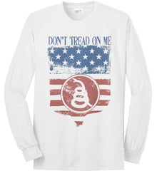 Don't Tread on Me. Rattlesnake. Faded Grunge Shield Port & Co. Long Sleeve Shirt. Made in the USA..