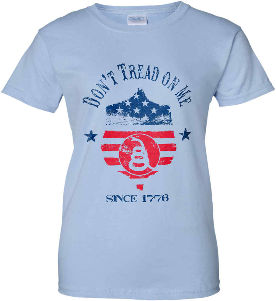 Don't Tread on Me. Snake on Shield. Red, White and Blue. Women's: Gildan Ladies' 100% Cotton T-Shirt.-5