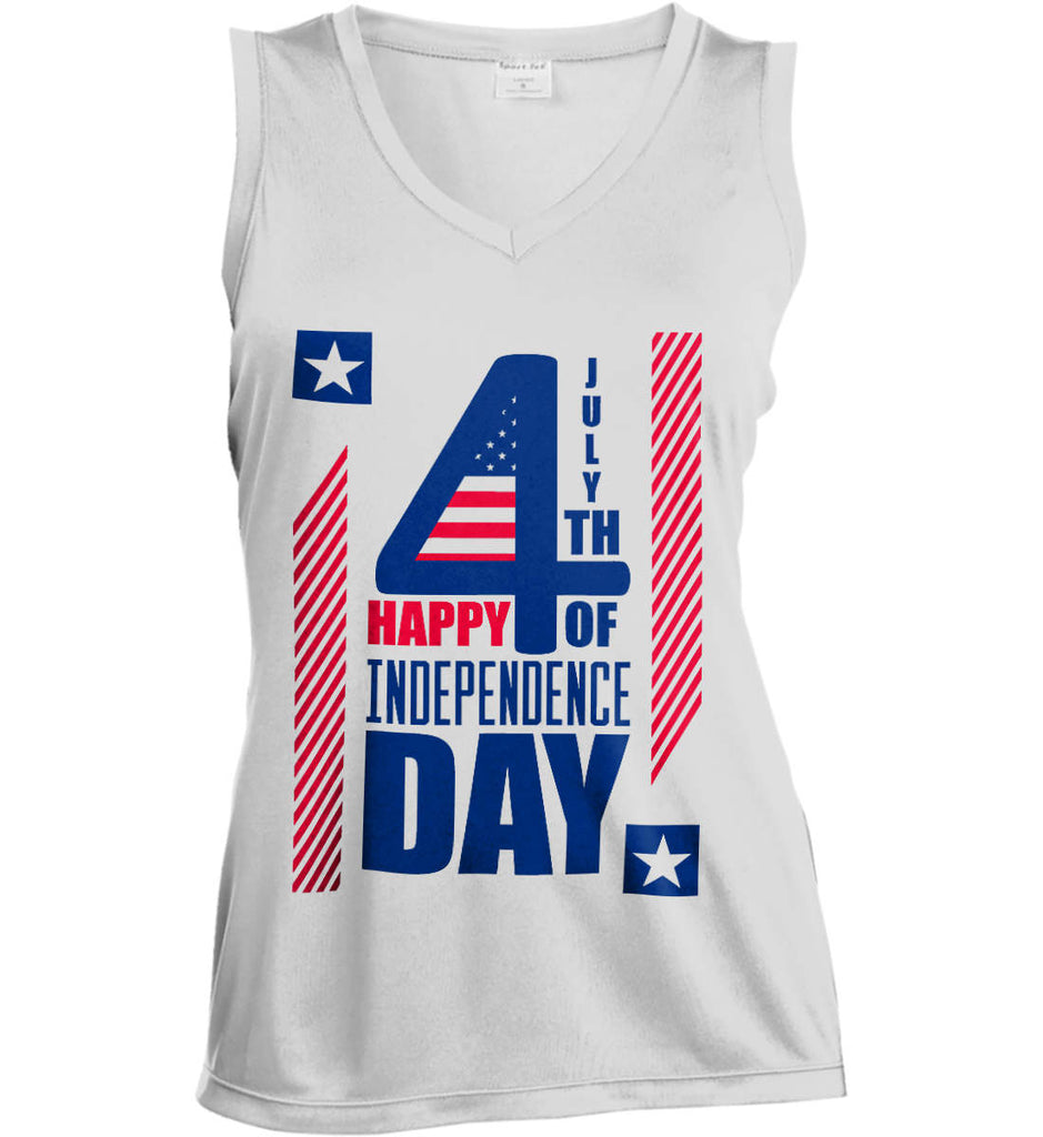 4th of July with Stars and Stripes. Women's: Sport-Tek Ladies' Sleeveless Moisture Absorbing V-Neck.-1