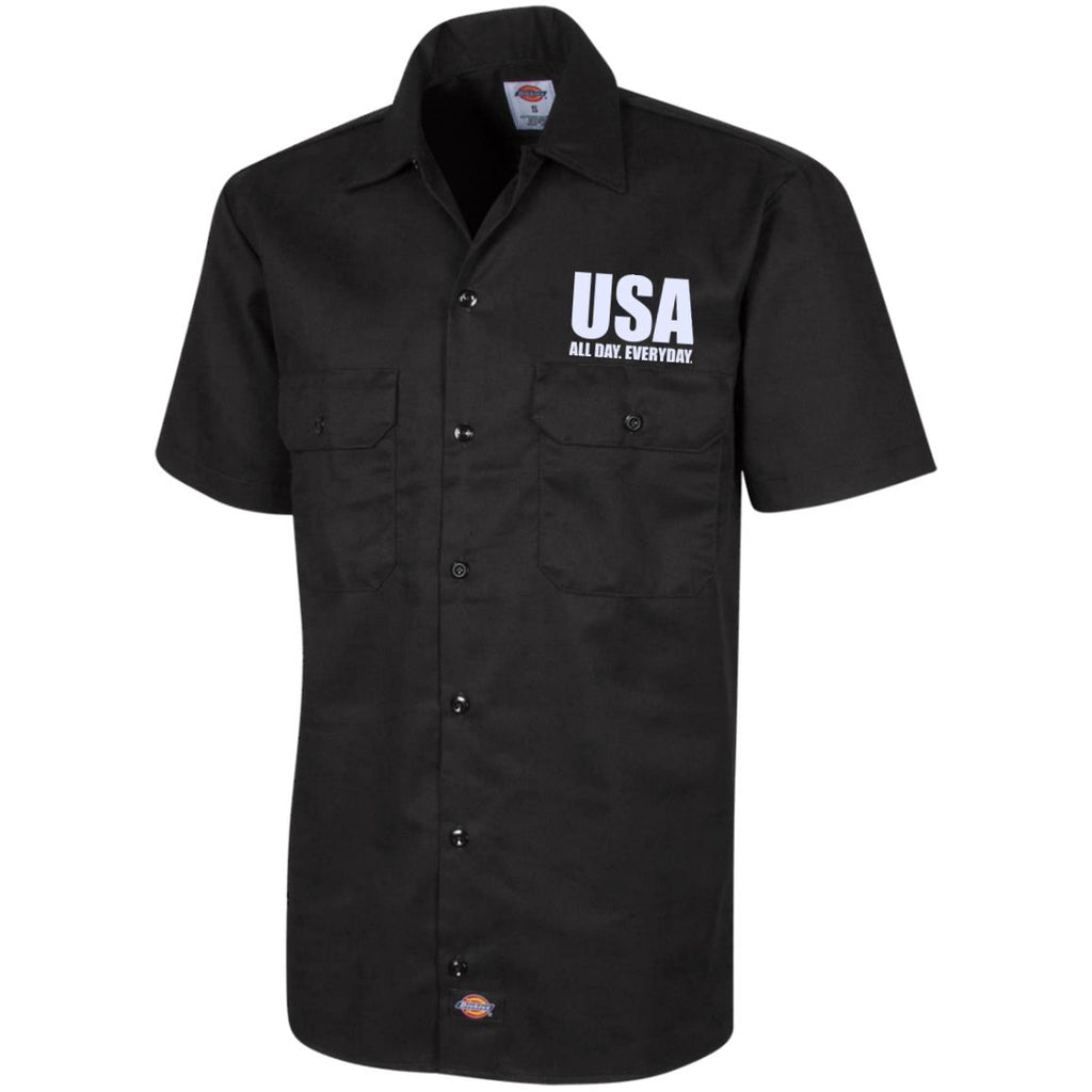 USA. All Day. Everyday. White Text. Dickies Men's Short Sleeve Workshirt. (Embroidered)-2