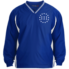 Three Percent III. Surrounded by Stars. Sport-Tek Tipped V-Neck Windshirt. (Embroidered)
