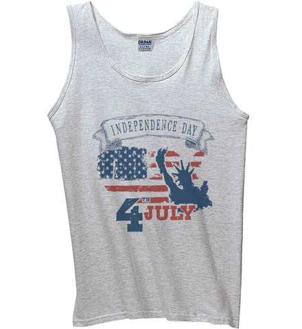 4th of July. Faded Grunge. Statue of Liberty. Gildan 100% Cotton Tank Top.