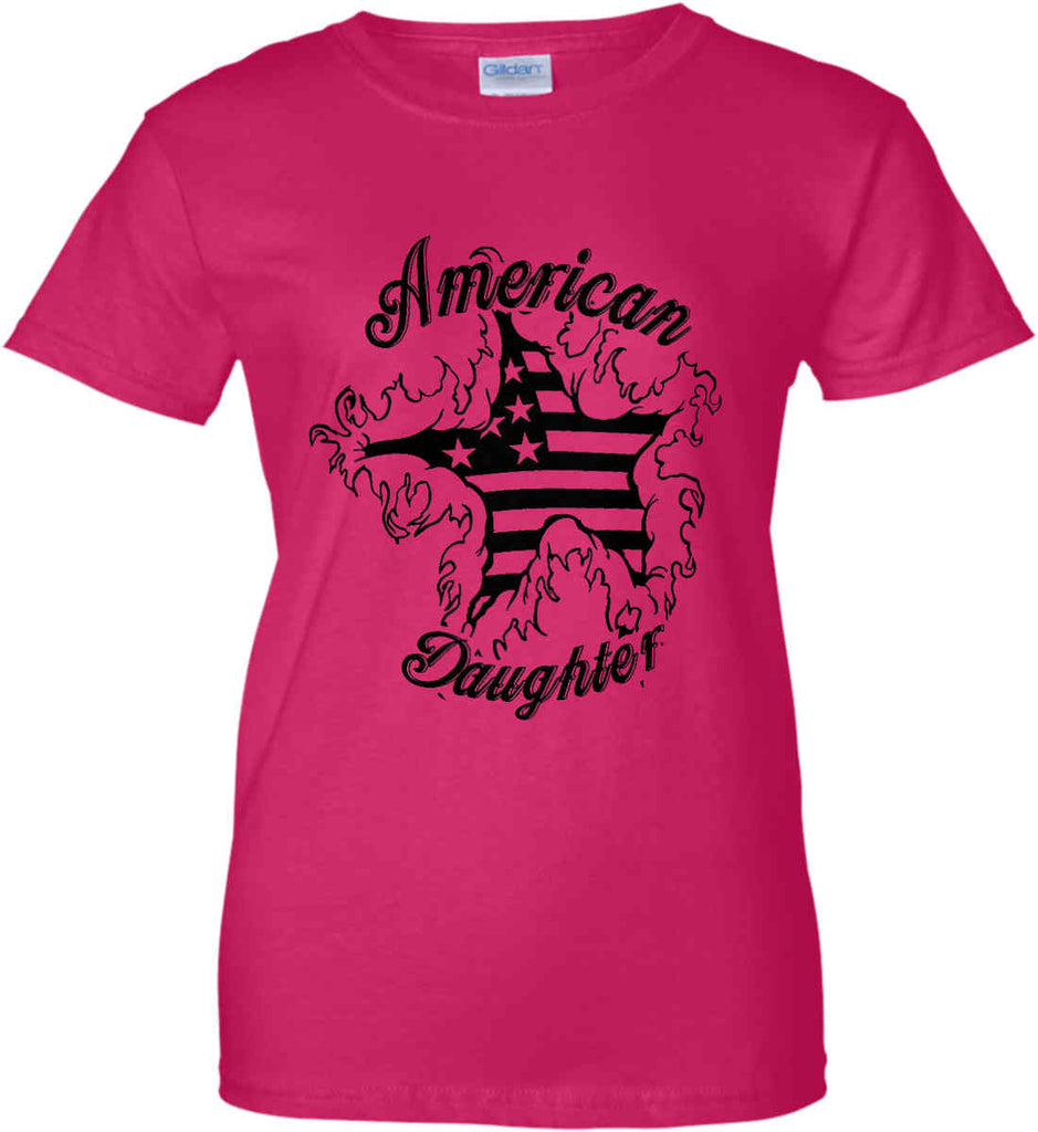 American Daughter. Women's Patriot Design. Women's: Gildan Ladies' 100% Cotton T-Shirt.-3