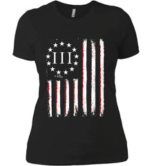 Three Percent on American Flag. Women's: Next Level Ladies' Boyfriend (Girly) T-Shirt.