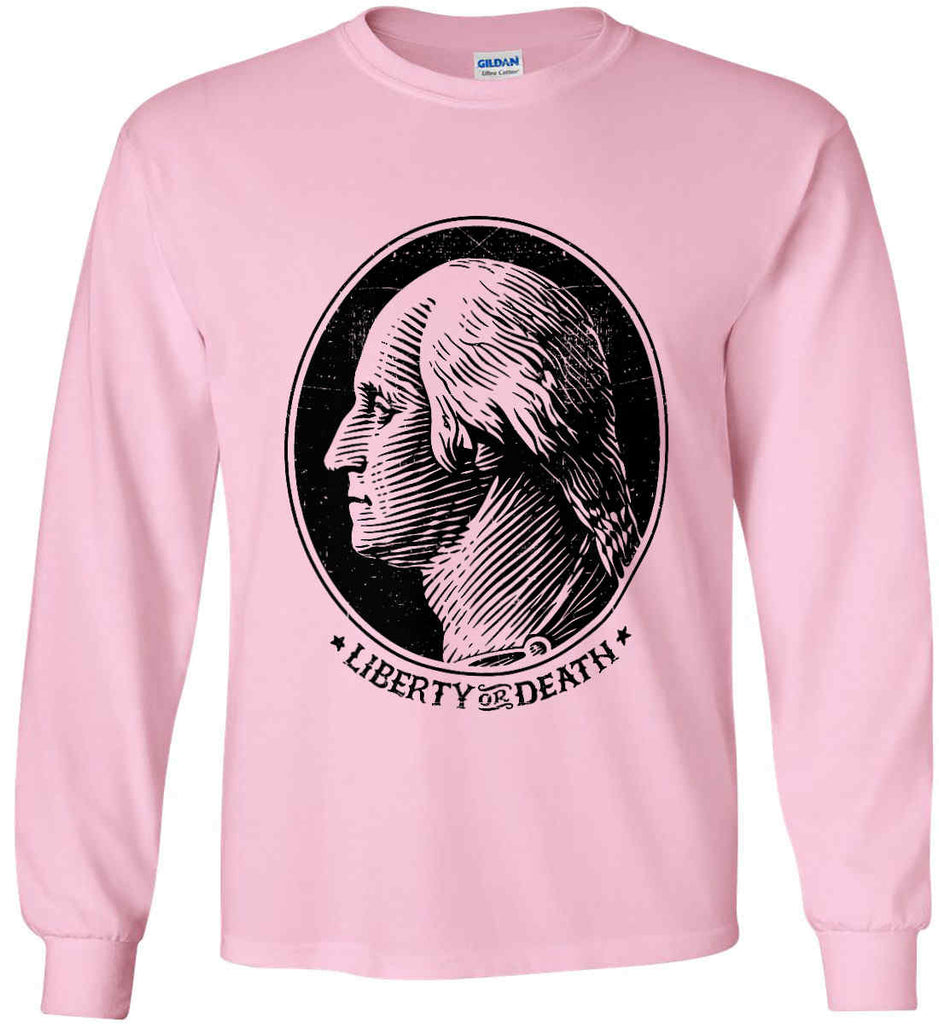 George Washington Liberty or Death. Black Print Gildan Ultra Cotton Long Sleeve Shirt.-8