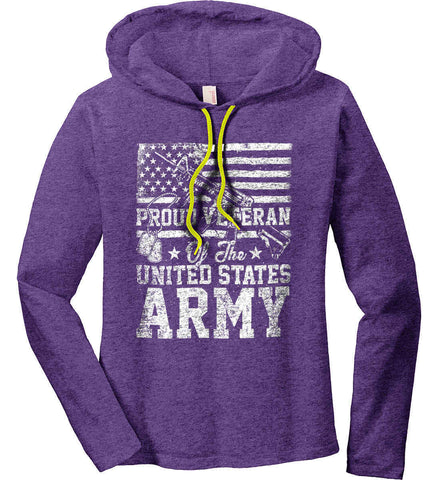 Proud Veteran. US ARMY. Women's: Anvil Ladies' Long Sleeve T-Shirt Hoodie.