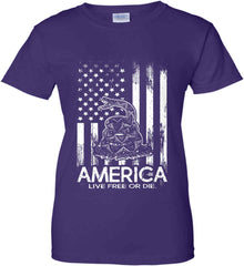 America. Live Free or Die. Don't Tread on Me. White Print. Women's: Gildan Ladies' 100% Cotton T-Shirt.