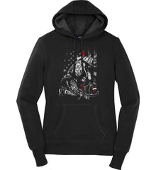 Thin Red Line. Kneeling Firefighter Ax. Women's: Sport-Tek Ladies Pullover Hooded Sweatshirt.
