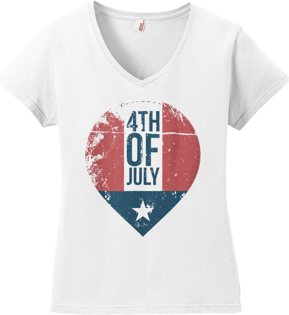 4th of July with Star. Women's: Anvil Ladies' V-Neck T-Shirt.-2