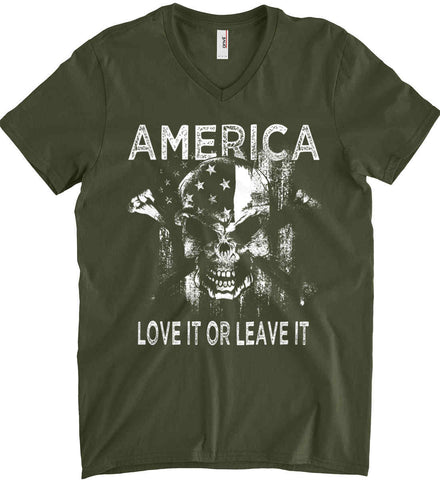 America. Love It or Leave It. White Print. Anvil Men's Printed V-Neck T-Shirt.