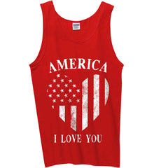America I Love You White Print. Gildan 100% Cotton Tank Top.