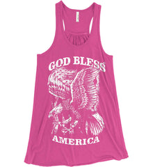 God Bless America. Eagle on Flag. White Print. Women's: Bella + Canvas Flowy Racerback Tank.