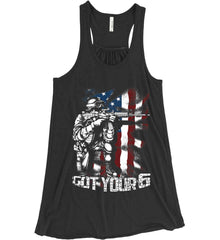 Got Your Six. Soldier Flag. Women's: Bella + Canvas Flowy Racerback Tank.