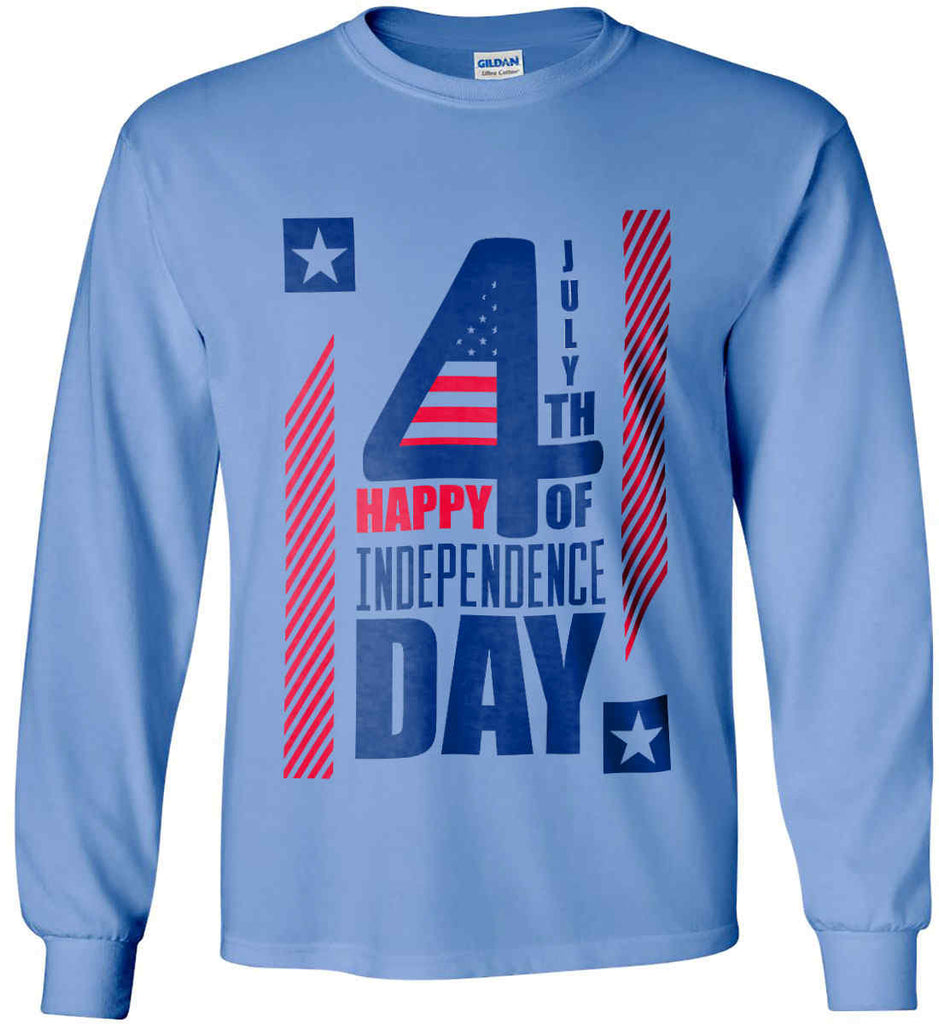 4th of July with Stars and Stripes. Gildan Ultra Cotton Long Sleeve Shirt.-7
