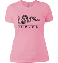 Join or Die. Black Print. Women's: Next Level Ladies' Boyfriend (Girly) T-Shirt.