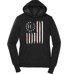 Three Percent on American Flag. Women's: Sport-Tek Ladies Pullover Hooded Sweatshirt.