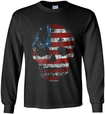 American Skull. Red, White and Blue. Gildan Ultra Cotton Long Sleeve Shirt.