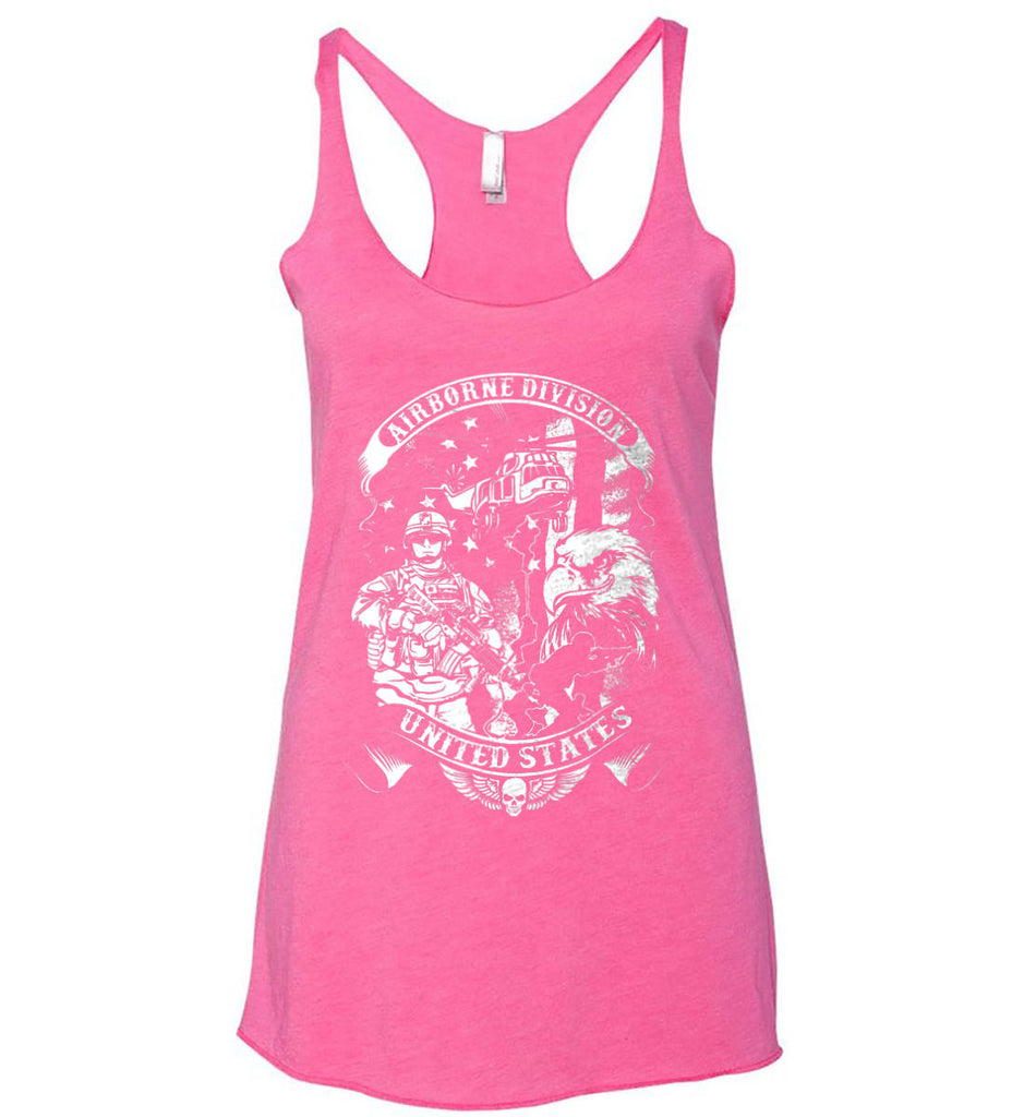 Airborne Division. United States. White Print. Women's: Next Level Ladies Ideal Racerback Tank.-3