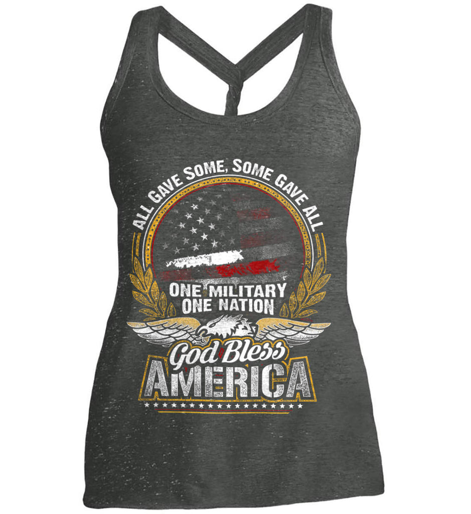 All Gave Some, Some Gave All. God Bless America. Women's: District Made Ladies Cosmic Twist Back Tank.-1