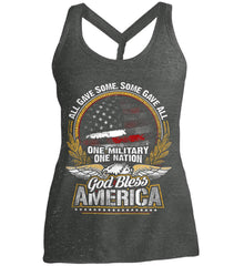 All Gave Some, Some Gave All. God Bless America. Women's: District Made Ladies Cosmic Twist Back Tank.