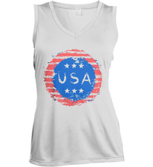 Grungy USA. Women's: Sport-Tek Ladies' Sleeveless Moisture Absorbing V-Neck.