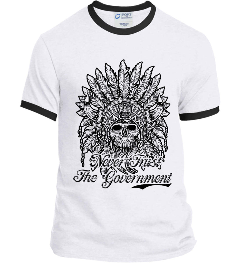 Skeleton Indian. Never Trust the Government. Port and Company Ringer Tee.-1