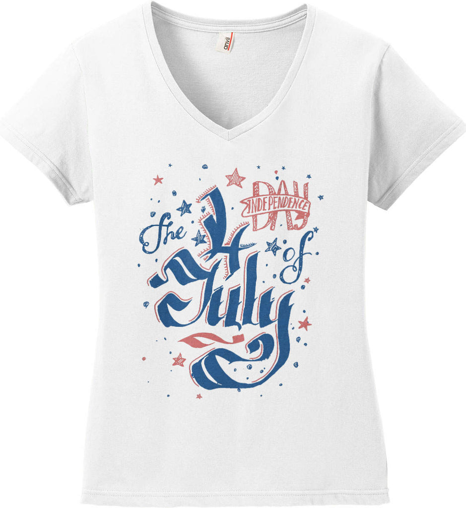 The 4th of July. Ribbon Script. Women's: Anvil Ladies' V-Neck T-Shirt.-2