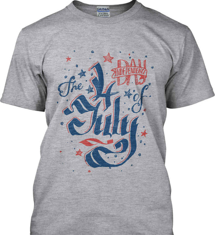The 4th of July. Ribbon Script. Gildan Ultra Cotton T-Shirt.
