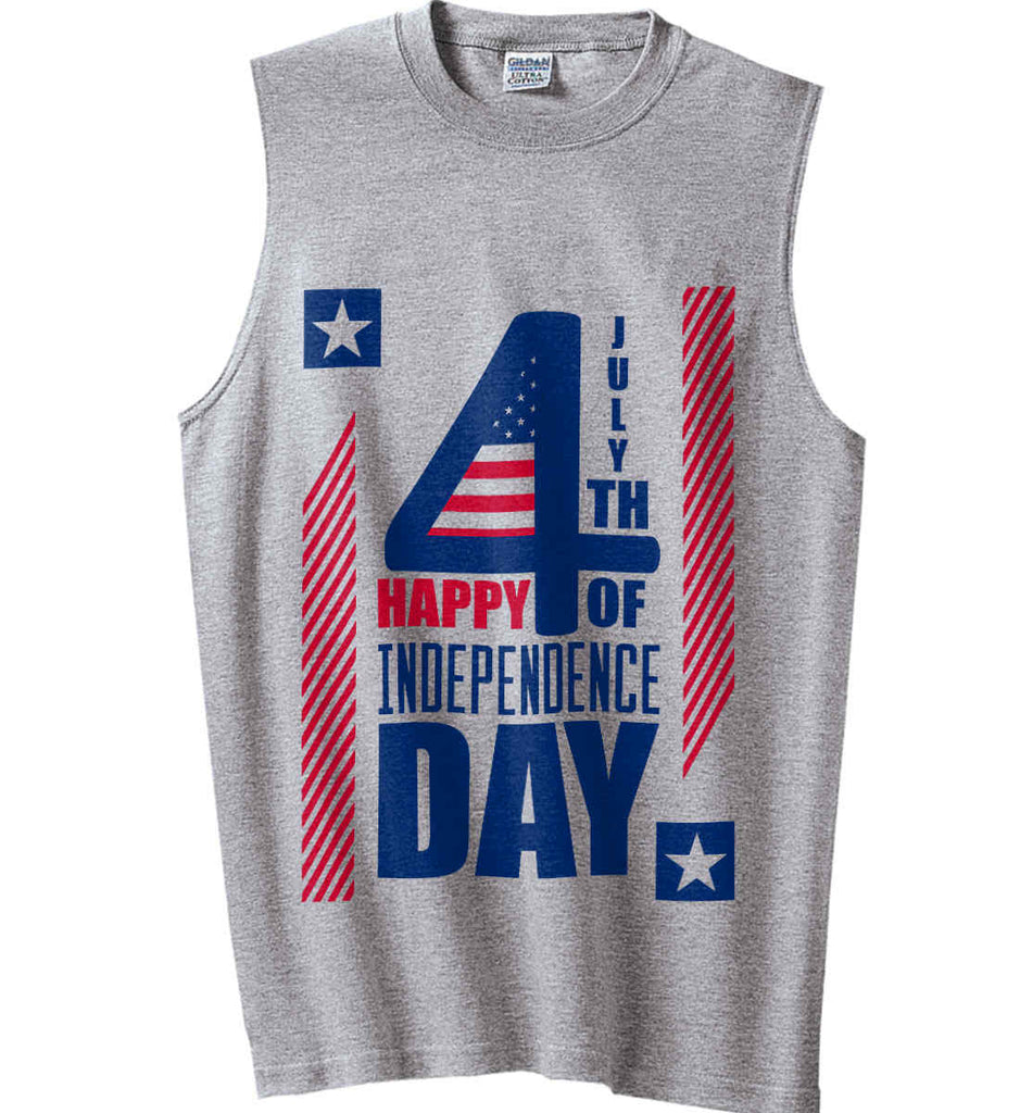 4th of July with Stars and Stripes. Gildan Men's Ultra Cotton Sleeveless T-Shirt.-1