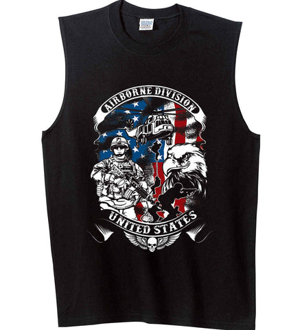 Airborne Division. United States. Gildan Men's Ultra Cotton Sleeveless T-Shirt.