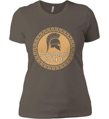 Molon Labe Spartan Helment. Gold Print. Women's: Next Level Ladies' Boyfriend (Girly) T-Shirt.