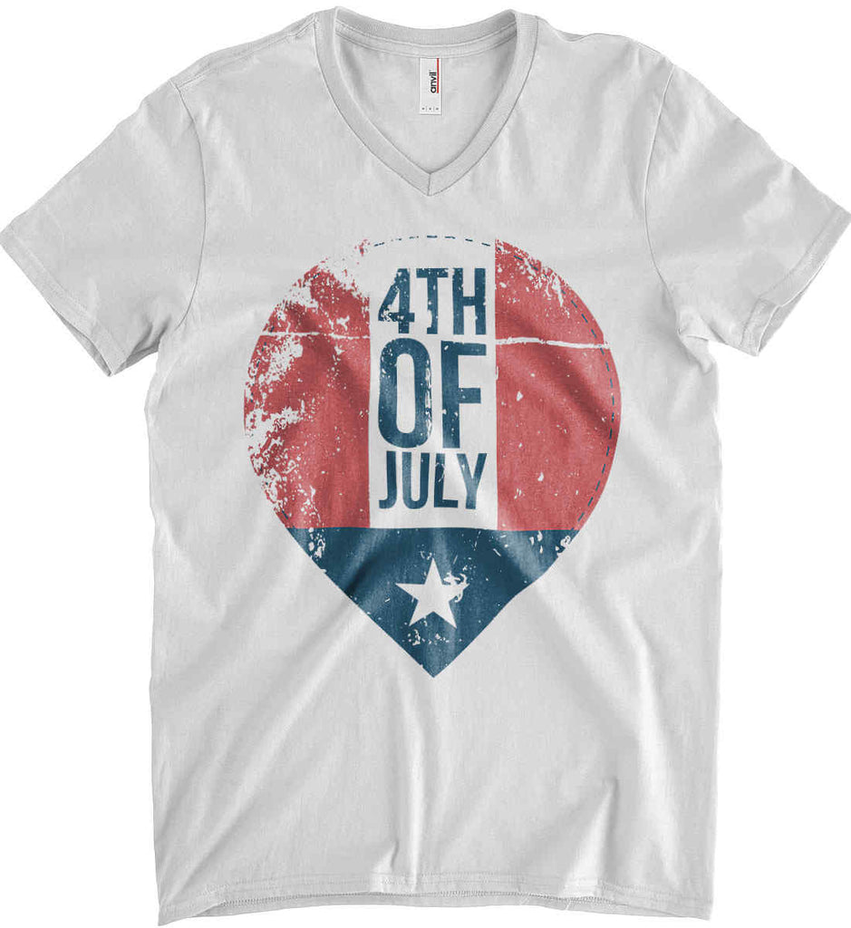 4th of July with Star. Anvil Men's Printed V-Neck T-Shirt.-1